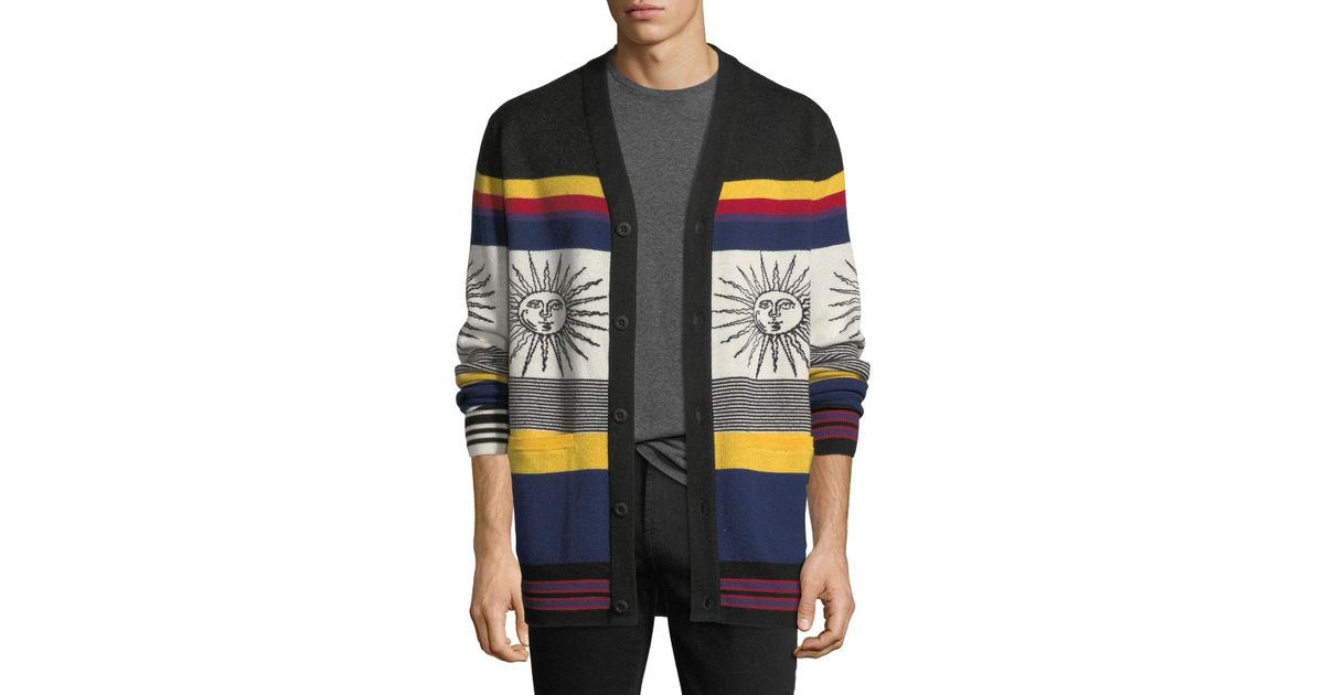 f336b67d5dadbb Ovadia And Sons Striped Sunny Wool Cardigan in Gray for Men - Lyst