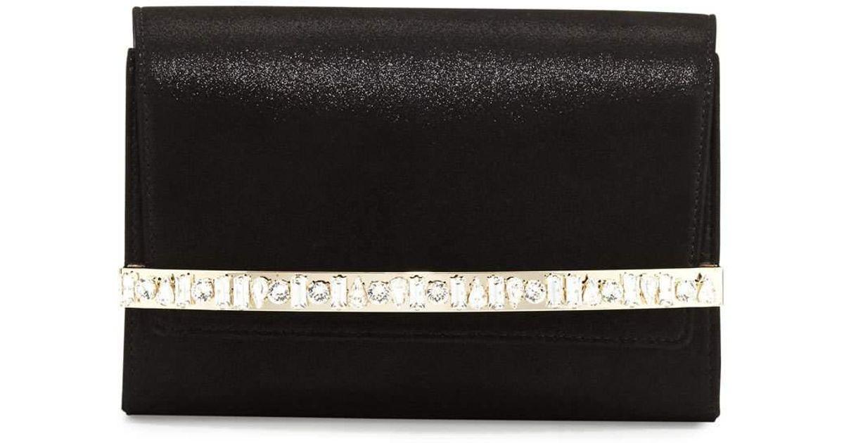 d7225b1c1c Lyst - Jimmy Choo Bow Crystal-bar Clutch Bag in Black