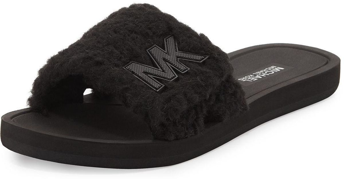 874bf9b08eb8 Lyst - Michael Kors Michael Mk Faux Fur Slide Sandals in Black
