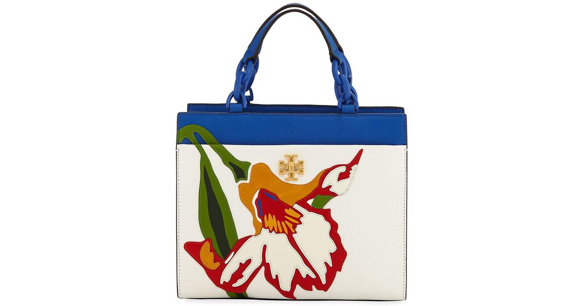 b8d89586cd84 Lyst - Tory Burch Kira Small Floral Appliqué Tote Bag in Blue
