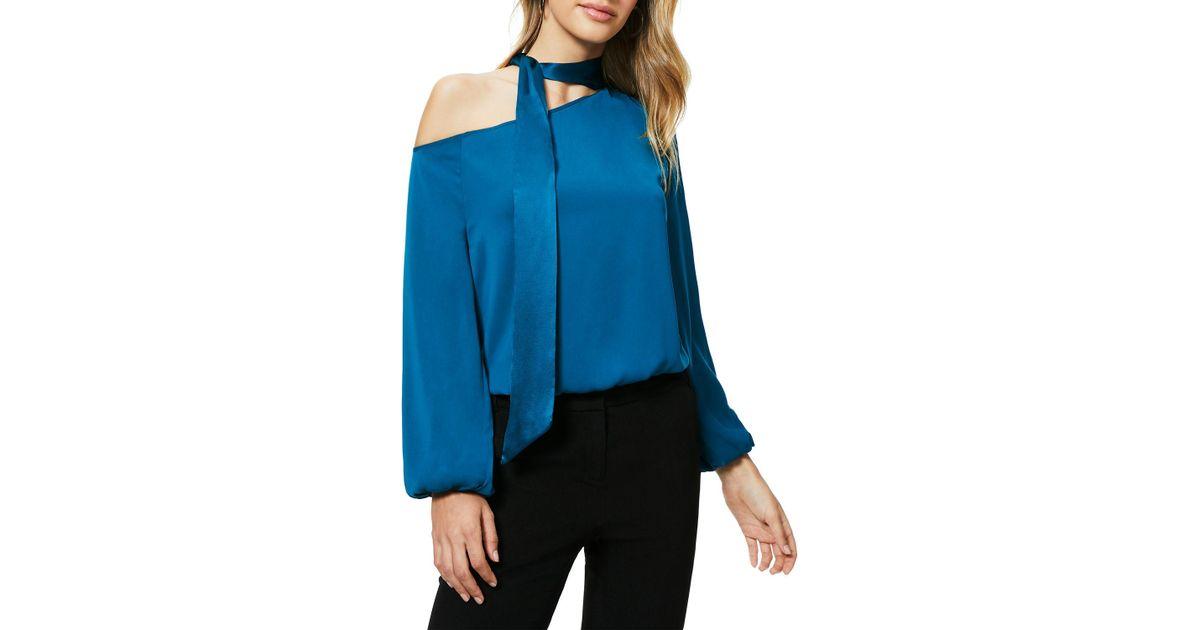 692963225a1a3 Lyst - Ramy Brook Seneca One-shoulder Tie-neck Blouson Top in Blue