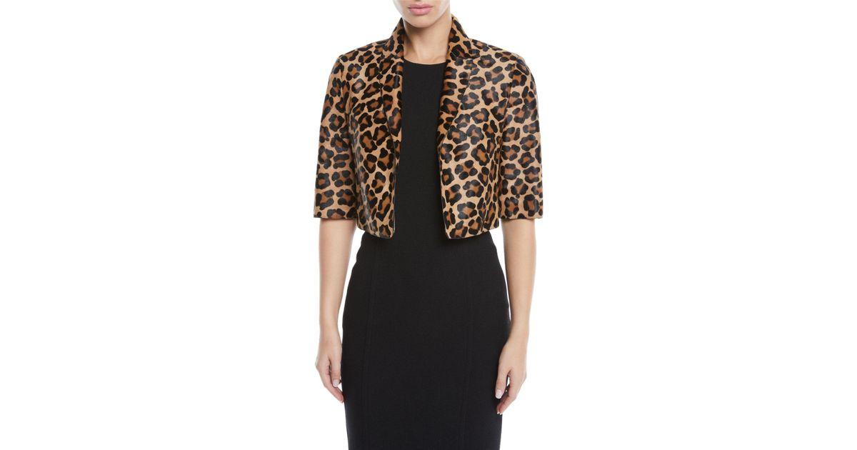 69a265054254 Lyst - Michael Kors Leopard-print Calf Hair Cropped Bolero Jacket in Black