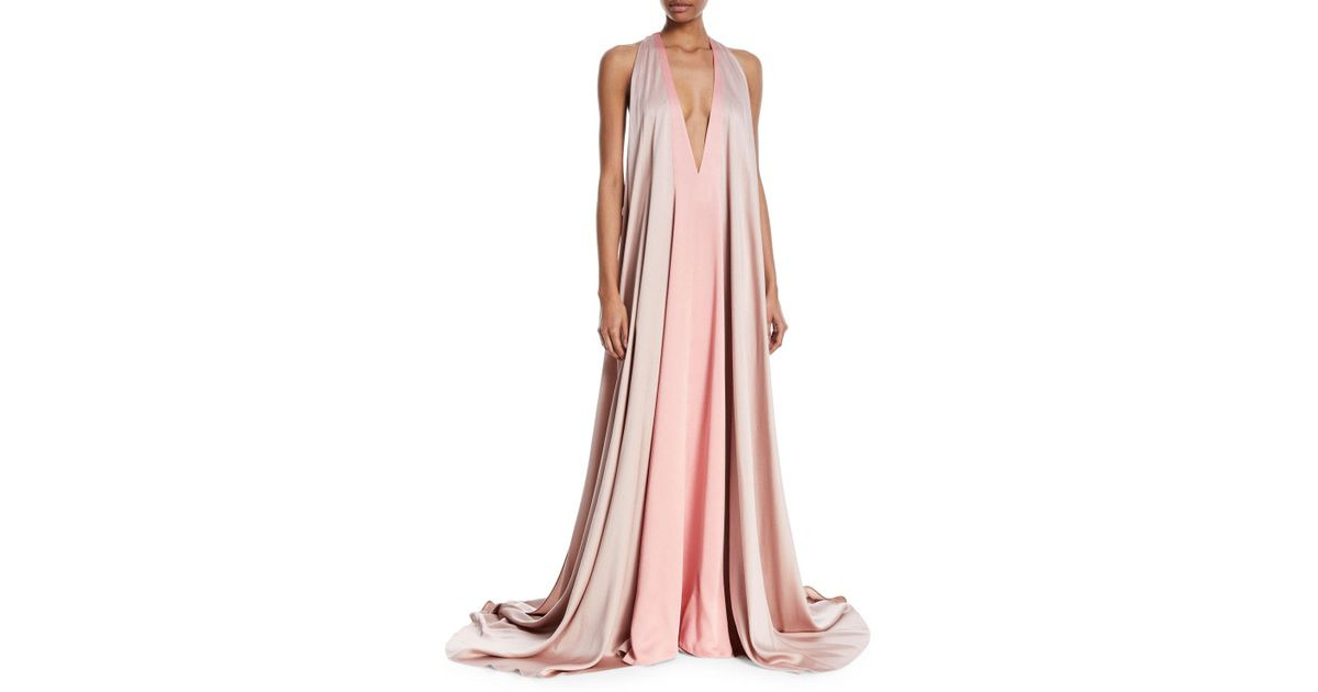 Lyst - Valentino Sleeveless Deep-v Colorblock Evening Gown in Pink