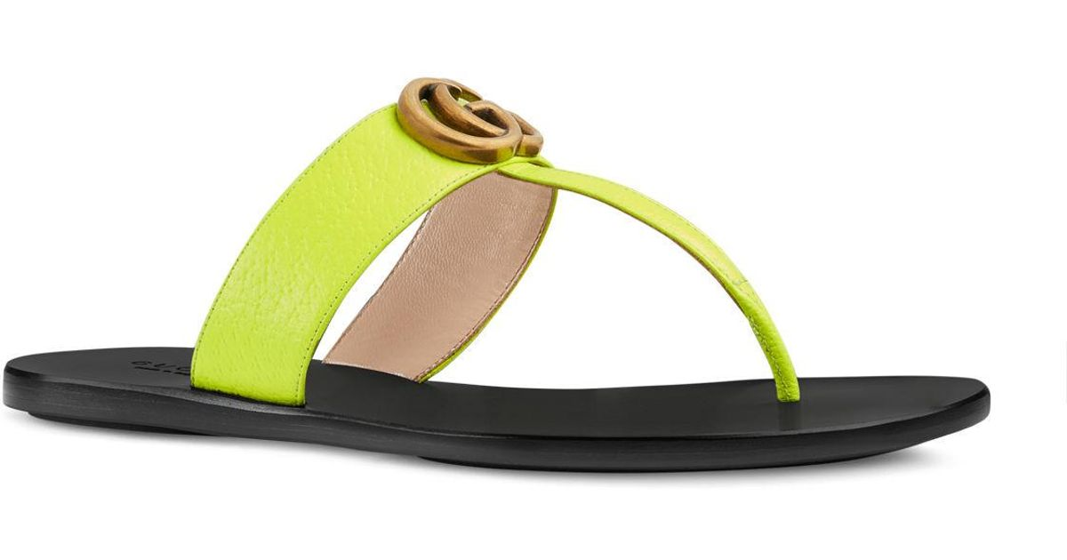 593c04ce5a6 Lyst - Gucci Flat Neon Leather Thong Sandals in Yellow