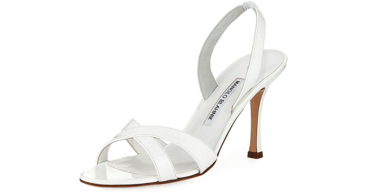 7eefeb5ad47 Lyst - Manolo Blahnik Callasli Patent Leather Slingback Sandal in Black
