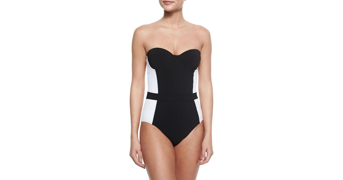 f17c30911d77e Lyst - Tory Burch Lipsi Two-tone One-piece Swimsuit in Black
