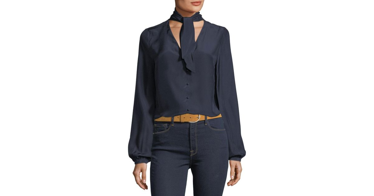 dcfc661cc02e3 Lyst - FRAME V-neck Button-front Silk Blouse With Scarf-tie in Blue - Save  17%