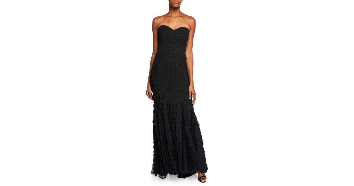 963a4862e92c Lyst - Badgley Mischka Wave Strapless Sweetheart Gown With Lace Insets in  Black