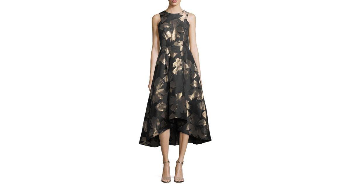 78aa70cc6bdd Shoshanna Coraline Sleeveless Metallic Floral High-low Evening Gown in  Black - Lyst