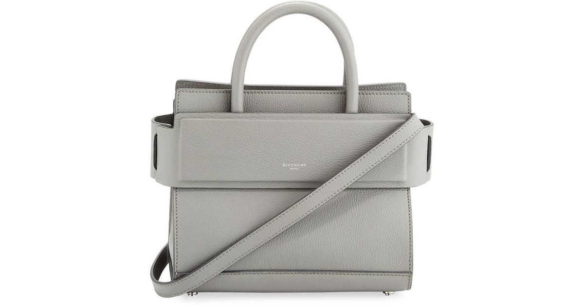 Lyst - Givenchy Horizon Mini Grained Leather Tote Bag in Gray 01496894ab