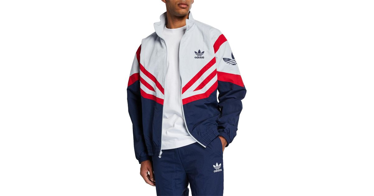 8ae3ba8fe Lyst - adidas Men's Colorblock Woven Track Jacket in Blue for Men