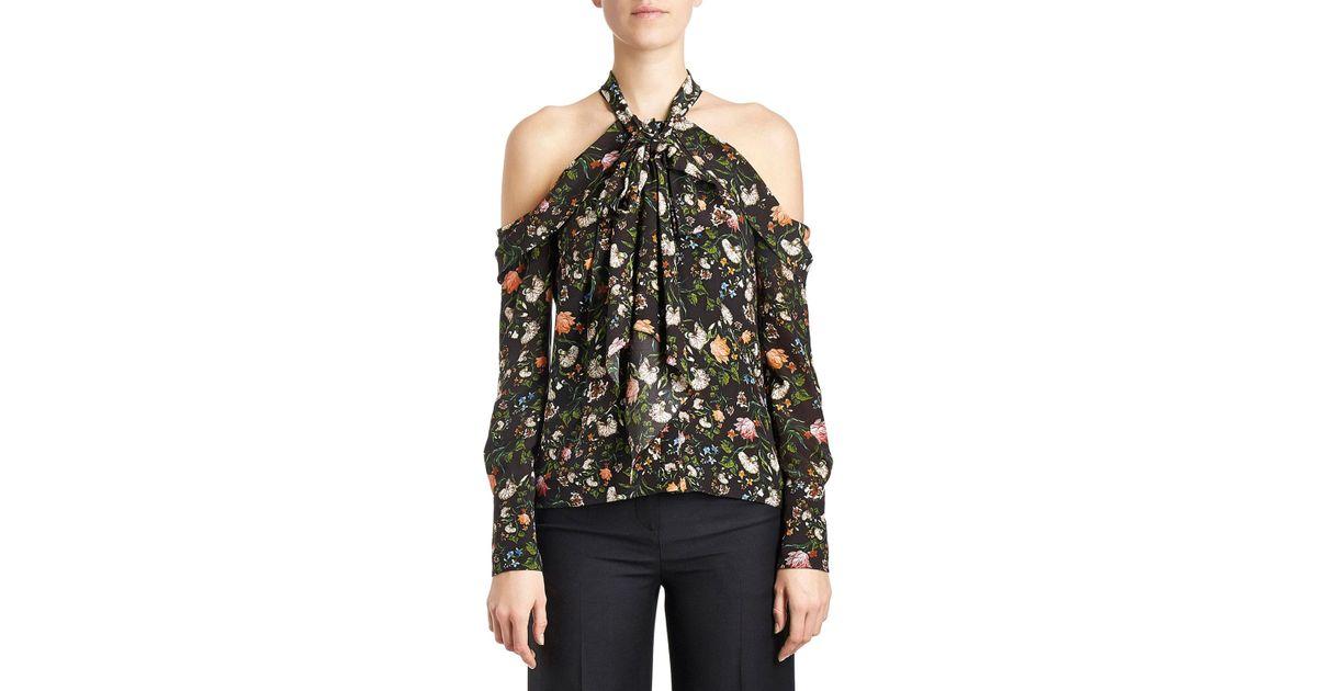 10fa807b4fe53 Lyst - Erdem Floral Cold-shoulder Halter Blouse in Black