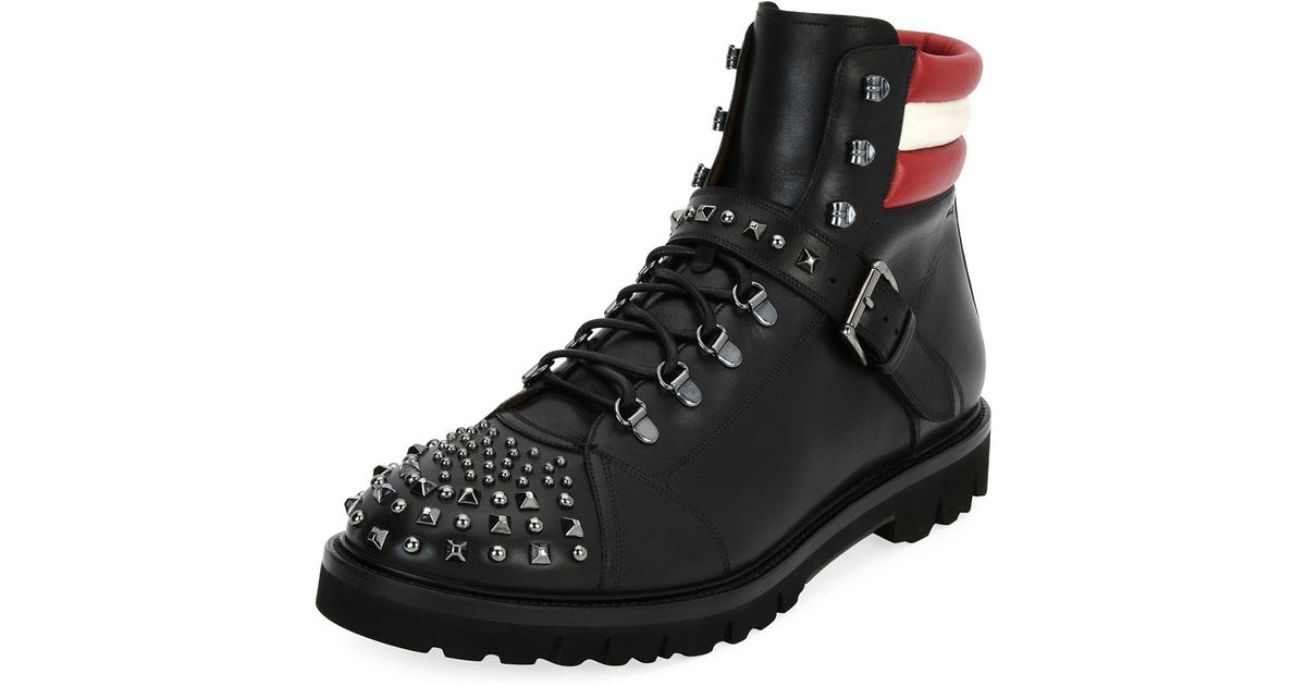 Lyst Leather Black Men For Hiking Champions Studded Boot Bally In RHnUaH