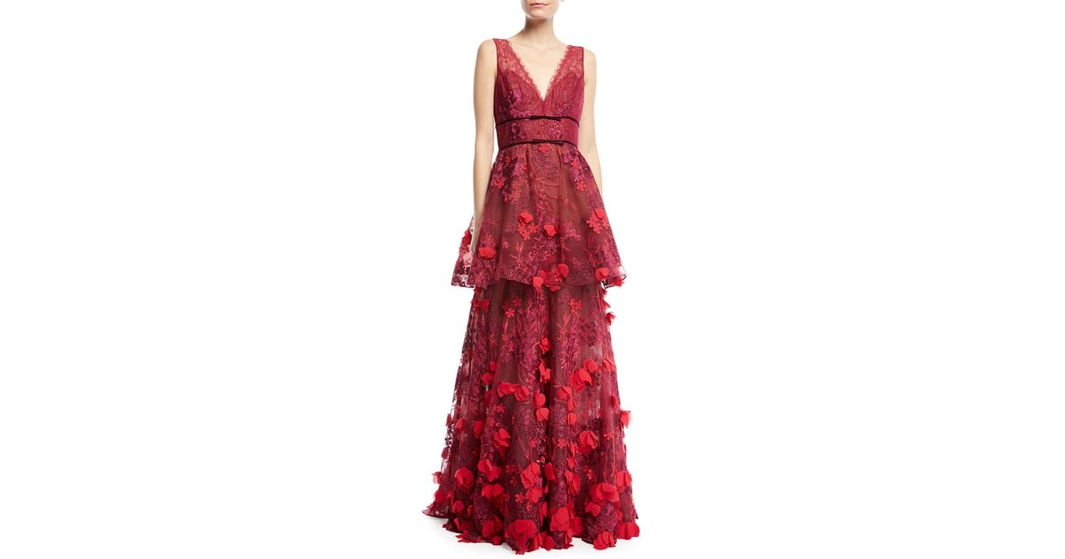 fdaec913aa Marchesa notte Two-tiered 3d Floral-embellished Gown in Red - Lyst