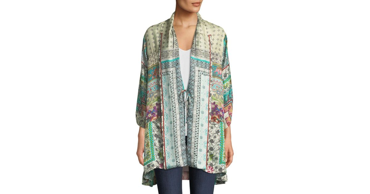 a4daa2ffe91 Lyst - Johnny Was Samira Long Silk Kimono Jacket in Green