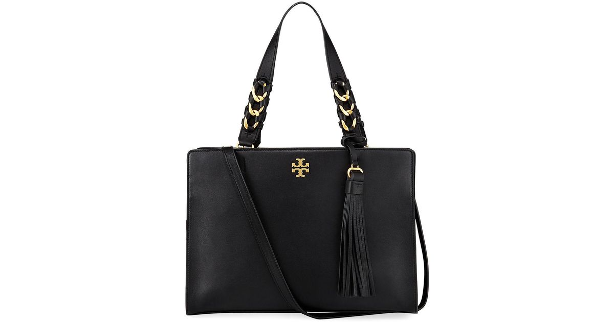 c90e994d914f Lyst - Tory Burch Brooke Smooth Leather Satchel Bag in Black