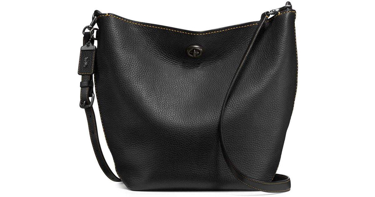 14c6b98c457d ... get lyst coach duffel leather bucket bag in black 78781 cfad4