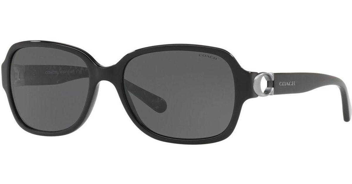 6a547036d0f Lyst - COACH Rectangle Acetate Sunglasses W  Cutout Logo Temples in Black