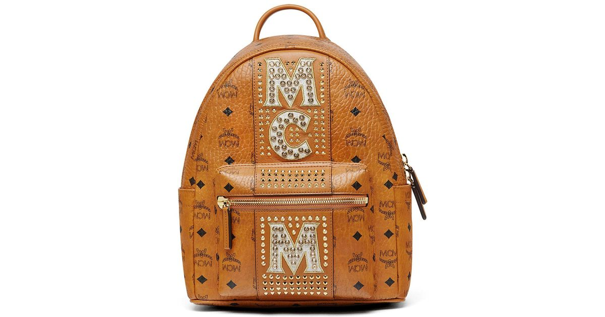 MCM Stark Stripe Crystal Studs Backpack XT6et0iskb