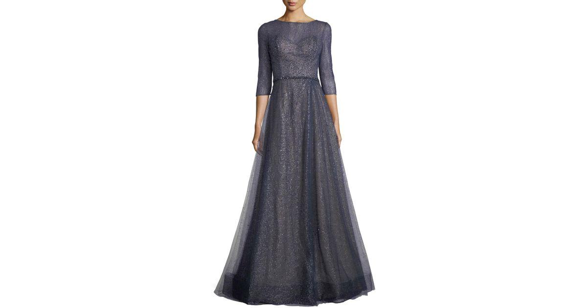 277a6004feb Rene Ruiz Elno 3 4-sleeve Metallic Tulle Evening Gown in Blue - Lyst