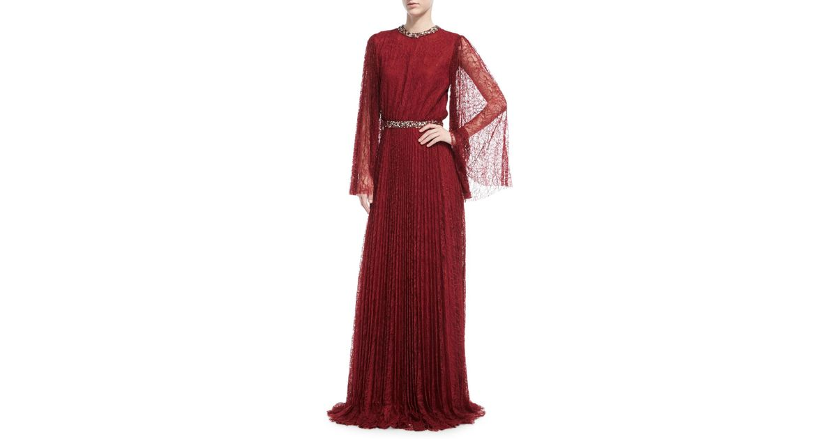 d0eb83a51fa2 Sachin & Babi Vidya Long-sleeve Embellished Lace Gown in Red - Lyst