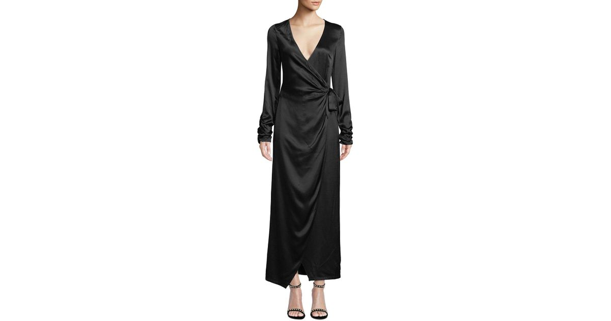 c343c77d79ce6 Lyst - Donna Mizani Austen Long-sleeve Maxi-length Wrap Dress in Black