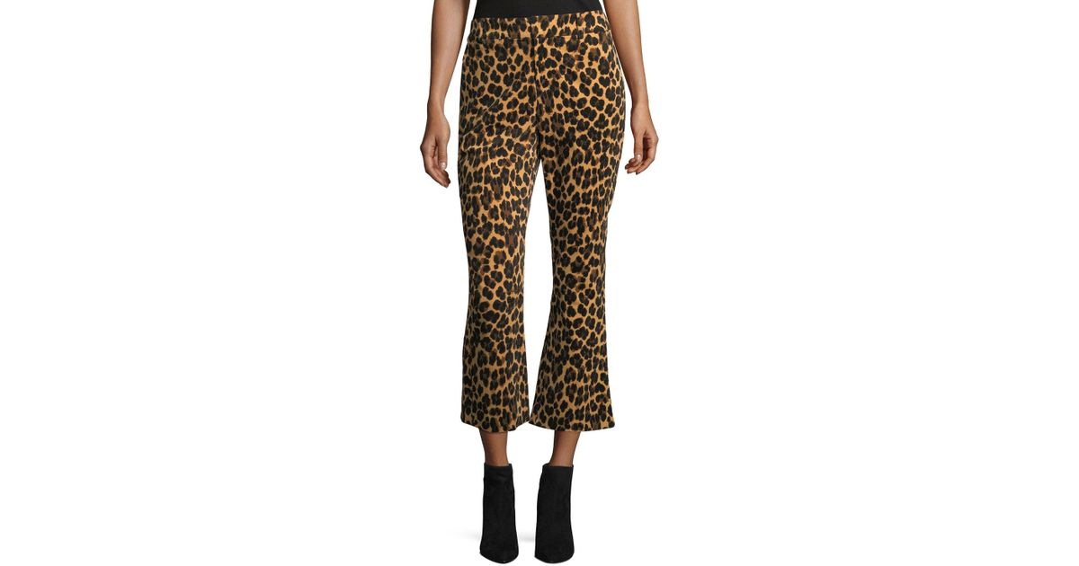 Lyst - Frame Cheetah-print Cropped Flared Pants