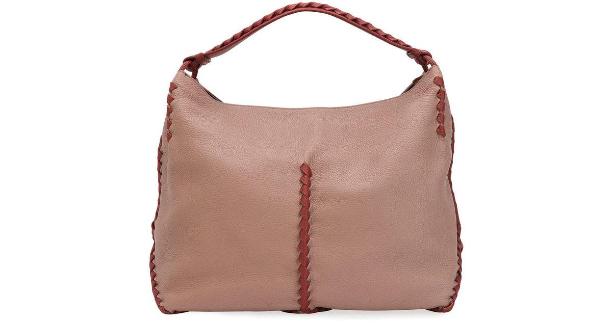 6f93a2e45e Lyst - Bottega Veneta Small Loop Intrecciato Woven Hobo Bag in Brown