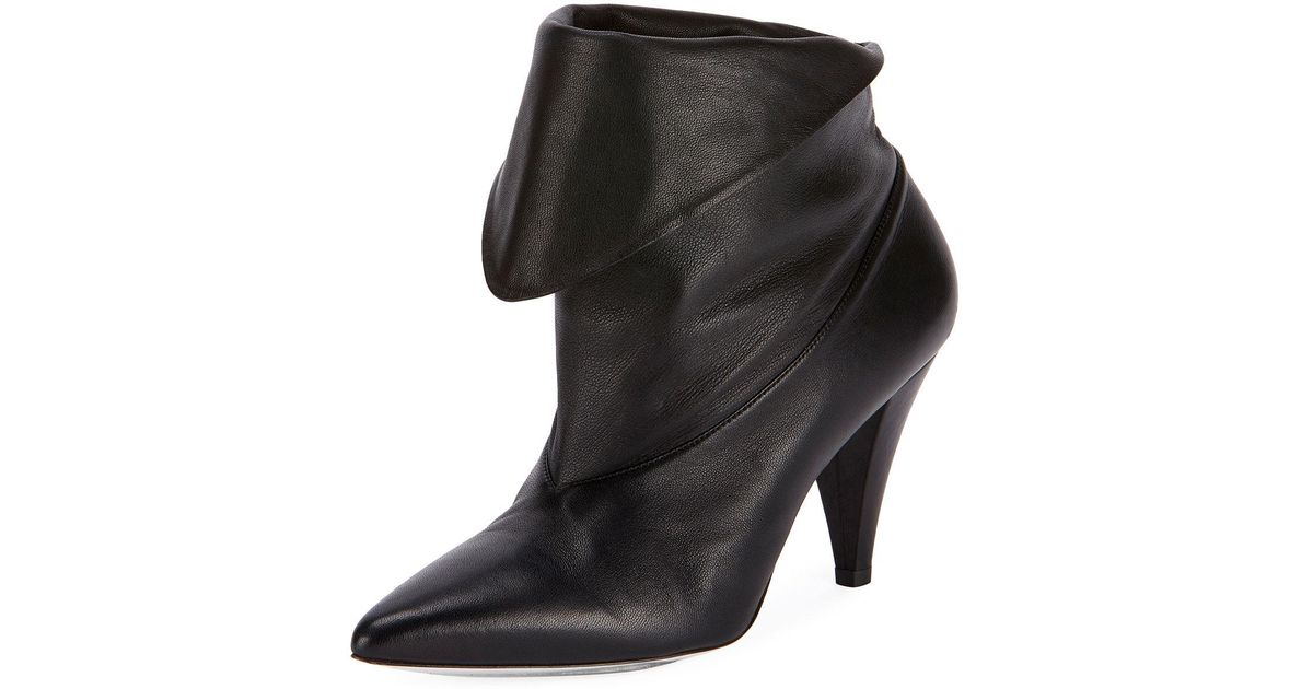 0074e1f2f2a8 Lyst - Givenchy Show Leather Folded Cone-heel Ankle Boots in Black