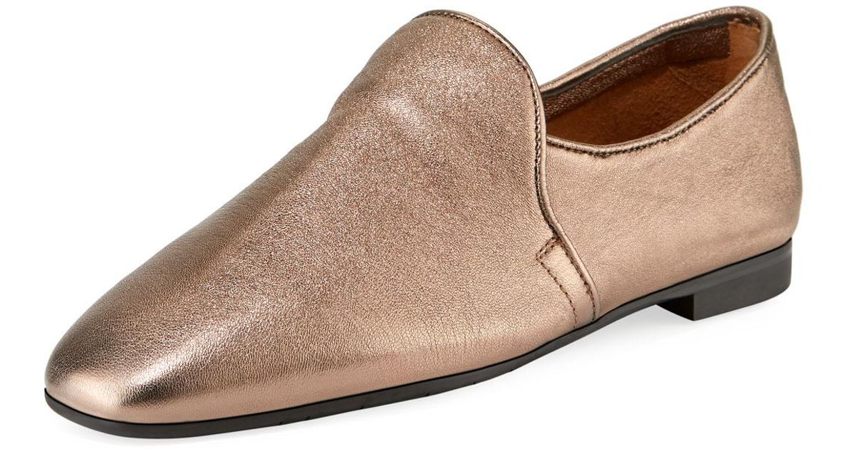 3d36c1edae915 Lyst - Aquatalia Revy Flat Metallic Leather Loafers in Metallic for Men