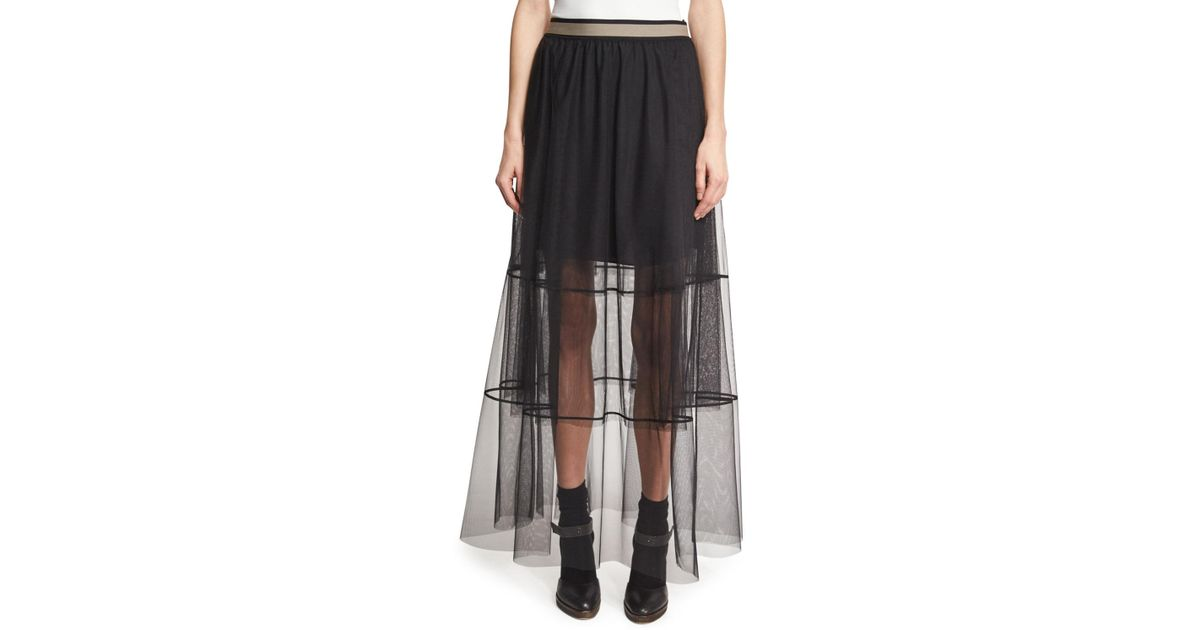 a1a75a0d1 Lyst - Brunello Cucinelli Sheer Tiered Tulle Maxi Skirt With Contrast Waist  in Black