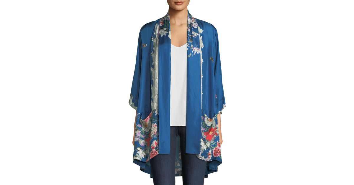 c0499c2f39d Lyst - Johnny Was Samira Long Floral-print Silk Kimono Jacket Plus Size in  Blue