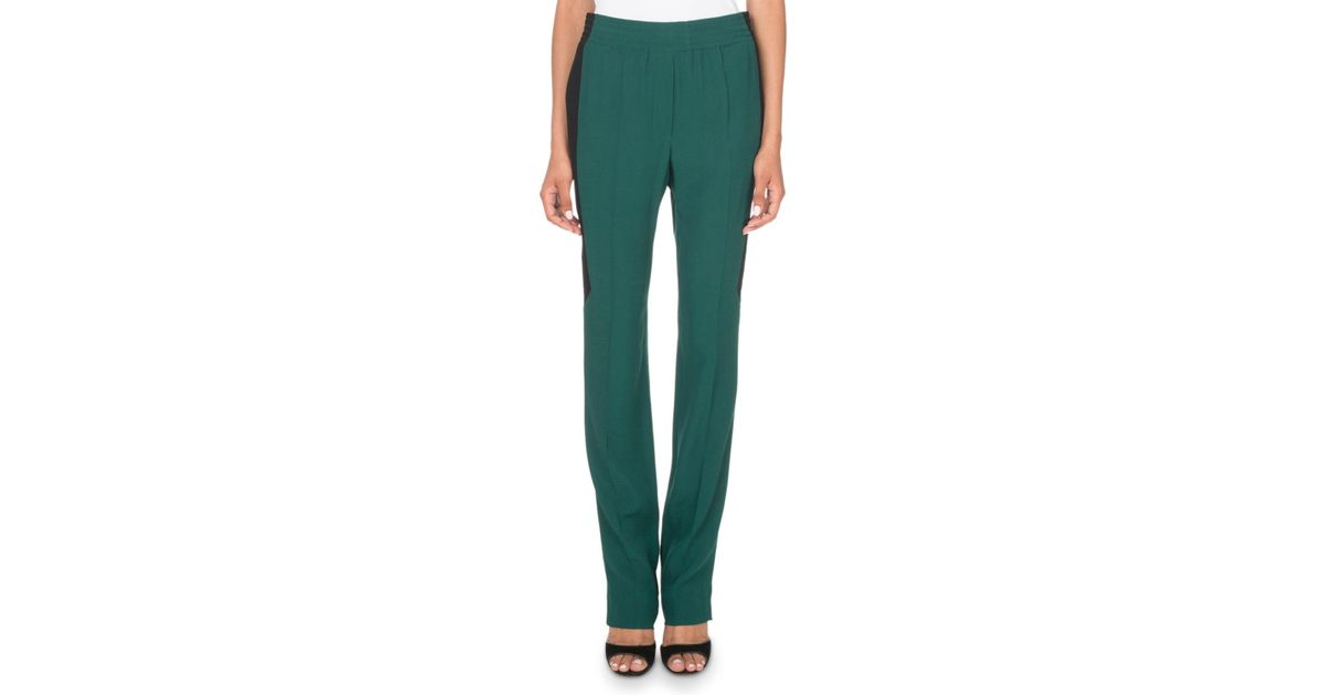 13349d4dd7e42 Lyst - Givenchy Pull-on Colorblocked Crepe & Satin Pants in Green