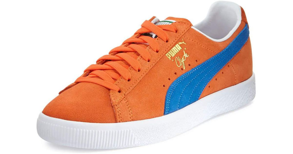 Lyst - PUMA Clyde Suede Low-top Sneaker in Orange for Men e08ebfe1e