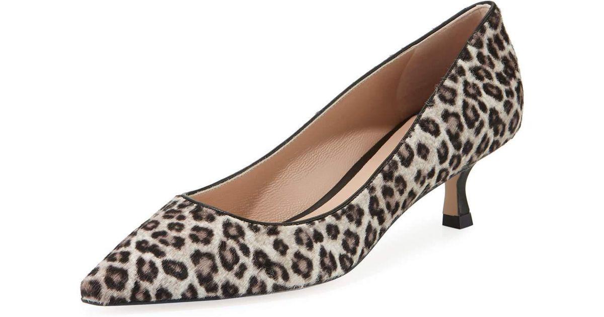 887932cb82 Stuart Weitzman Tippi Low-heel Leopard Pointed-toe Pumps in Brown - Lyst