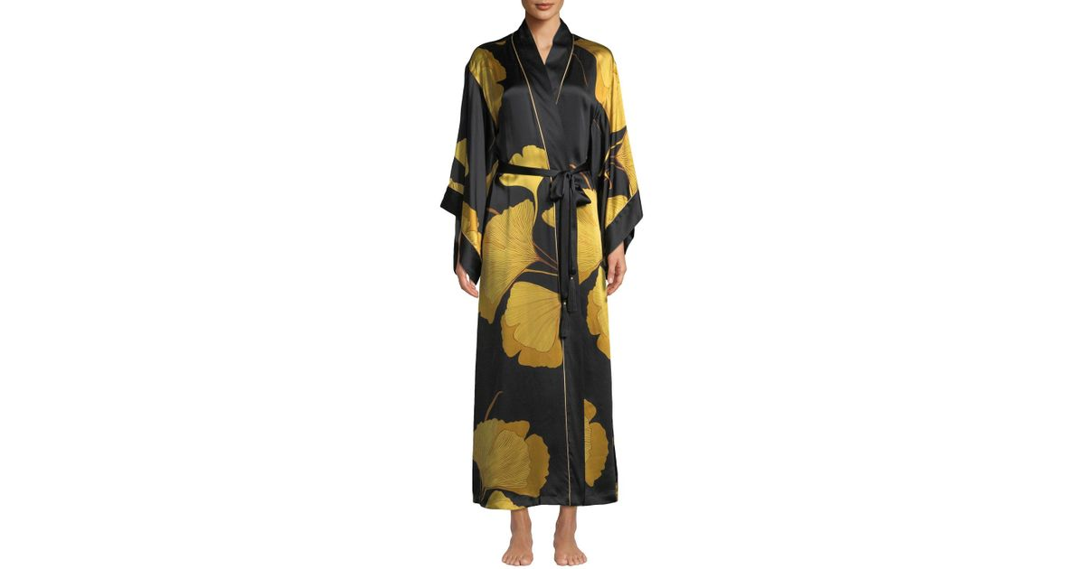 9ed3245525 Josie Natori - Multicolor Print Silk Robe - Lyst