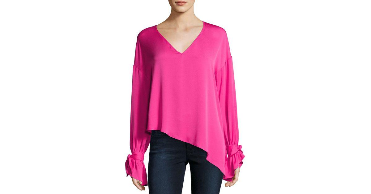 93c5708f21df1 Lyst - Milly Nicolina Tie-sleeve Asymmetric Stretch-silk Top in Pink