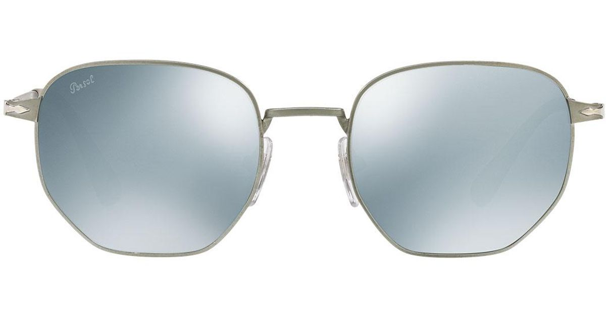 69b28caa71 Lyst - Persol Metal Universal Fit Pilot Sunglasses With Mirrored Lenses in  Gray for Men