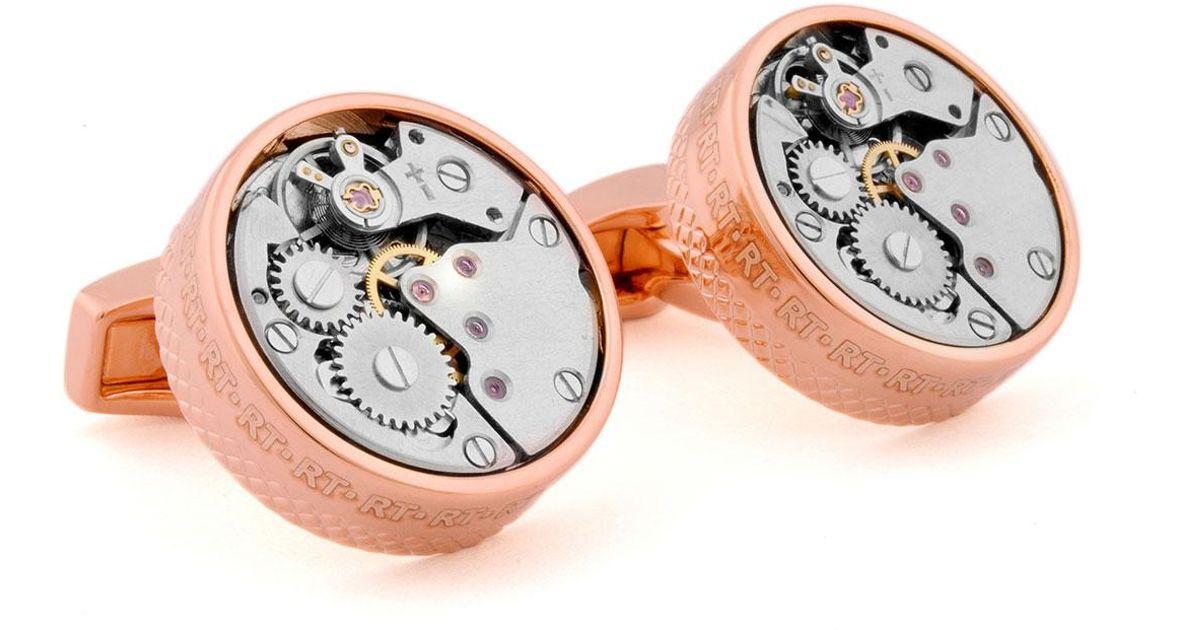 Tateossian Pink-Gold Plated Gear Cuff Links 3R9GJpy4rD