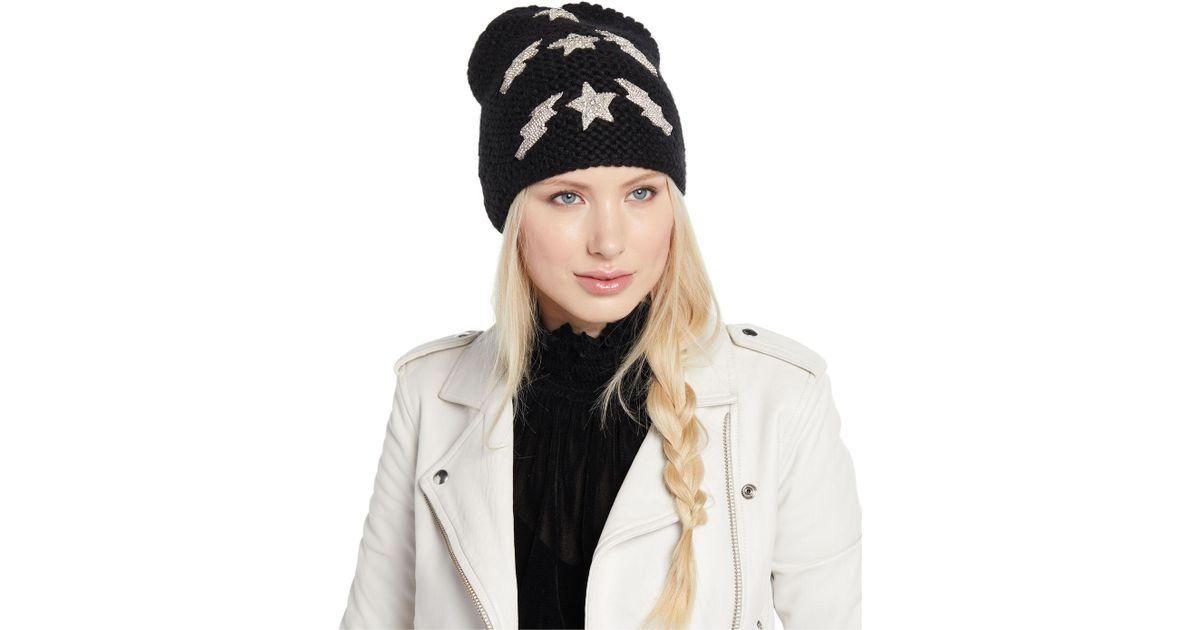 55bbd58e6ed38 Jennifer Behr Bowie Lightning Bolts   Stars Embellished Beanie Hat in Black  - Lyst