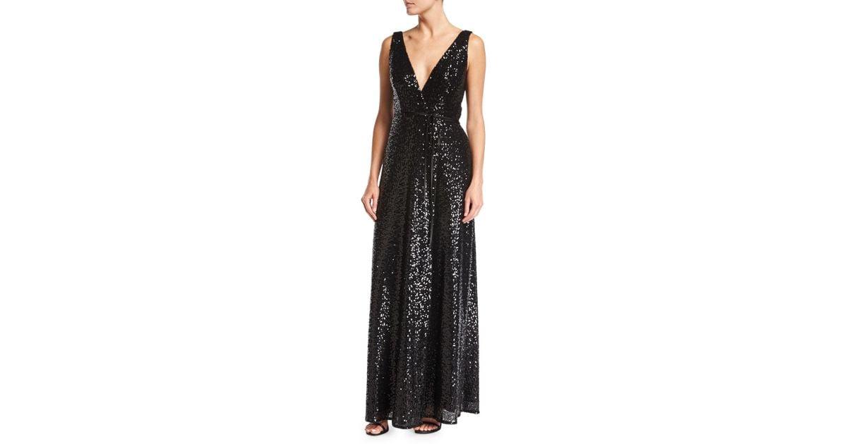 9f27847ef32 Lyst - Aidan By Aidan Mattox Sleeveless Sequin Wrap Evening Gown in Black