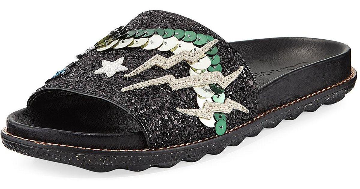 718ed68da10 Lyst - COACH Rexy Glitter Patchwork Sport Slide Sandal in Black
