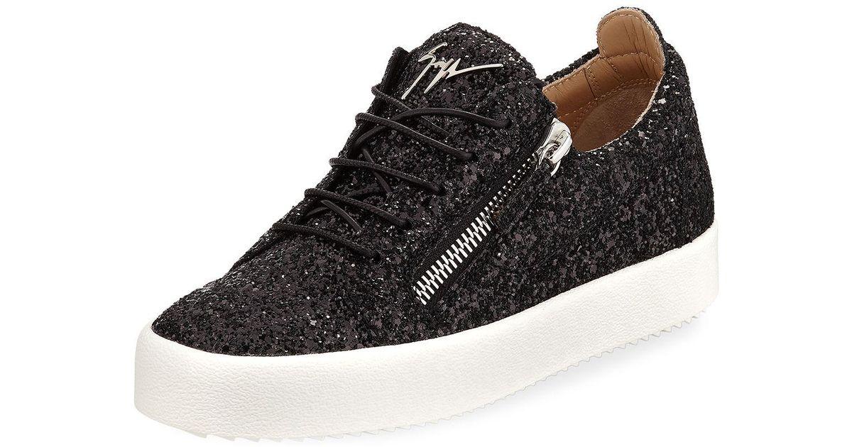 1e8b97719c2 Lyst - Giuseppe Zanotti May Coarse Glitter Platform Sneakers in Black