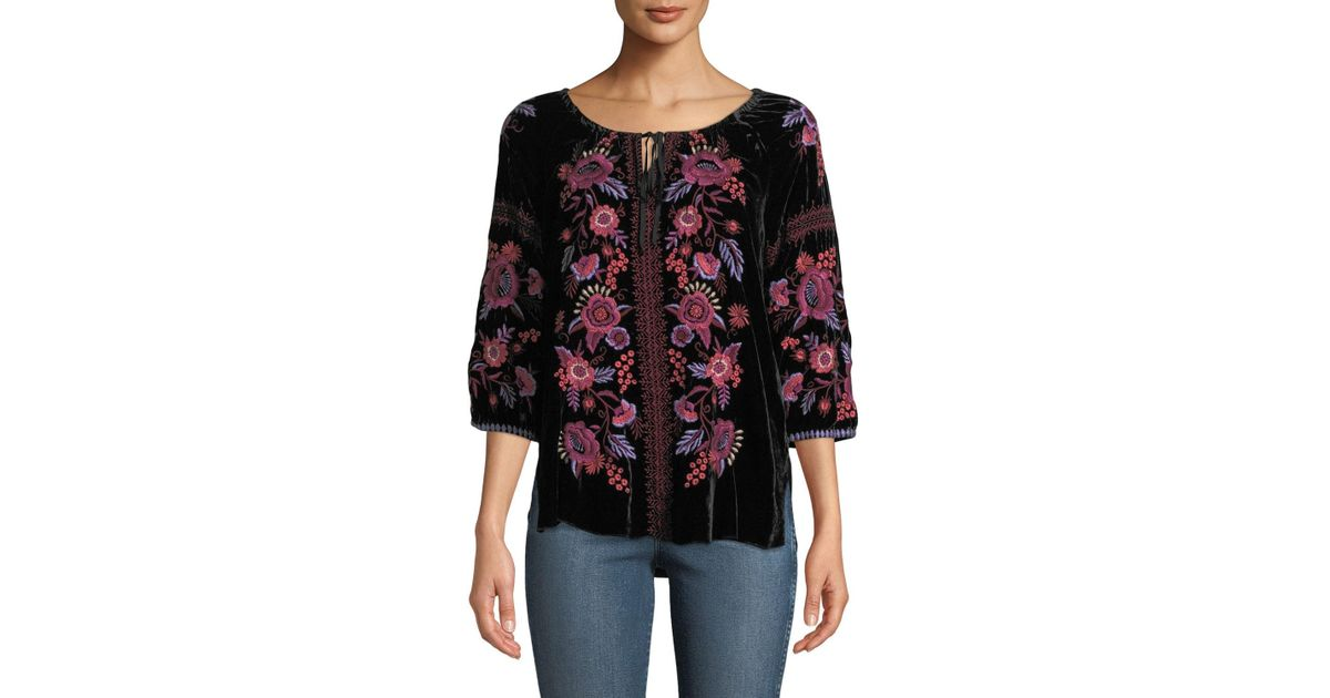 e3449140430 Lyst - Johnny Was Plus Size Marcella Velvet Peasant Blouse in Black - Save  14.932126696832583%