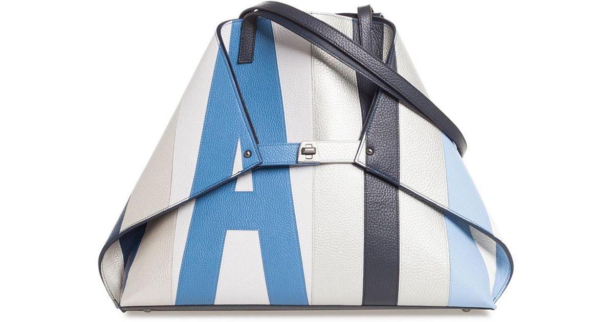 Lyst - Akris Ai Reversible Shoulder Tote Bag in Blue 95925fad17