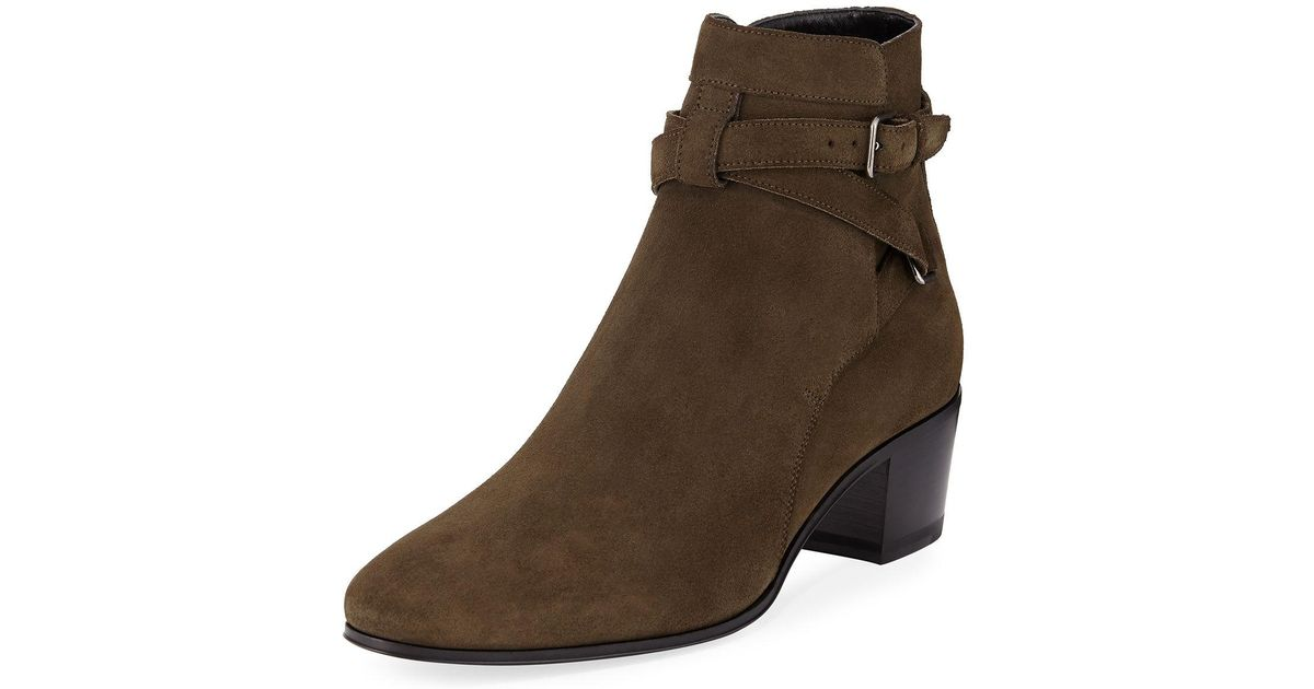 Saint Laurent Rock Blake Suede Ankle-Wrap Bootie DaEDbHt50W