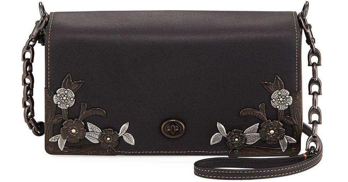 ... reduced lyst coach dinky tea rose metal flower crossbody bag in black  3c8f3 3b0e4 3d26c6ed11e60