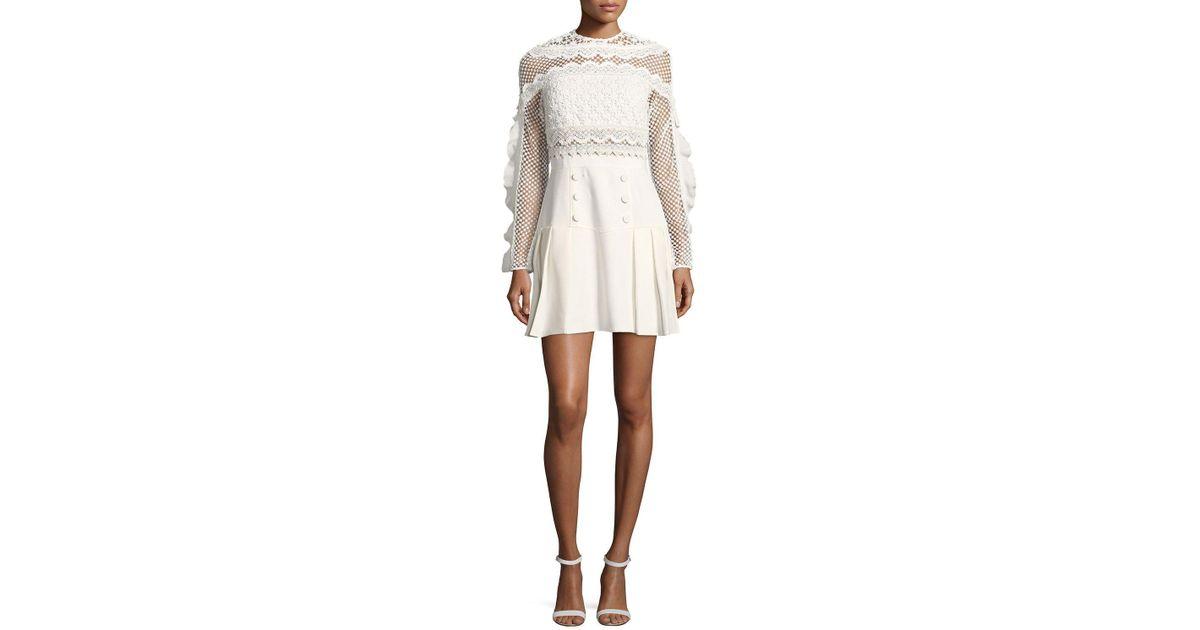 fb5d9aab94d1 Self-Portrait Bellis Mesh Long-sleeve Lace-trim Cocktail Dress in White -  Lyst