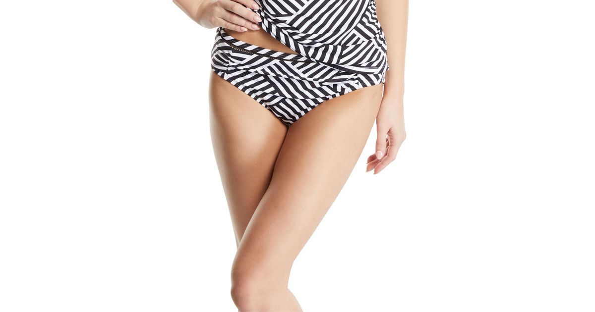 f8ef38898e Lyst - Tommy Bahama Fractured Stripe Bikini Bottoms in Black - Save 28%