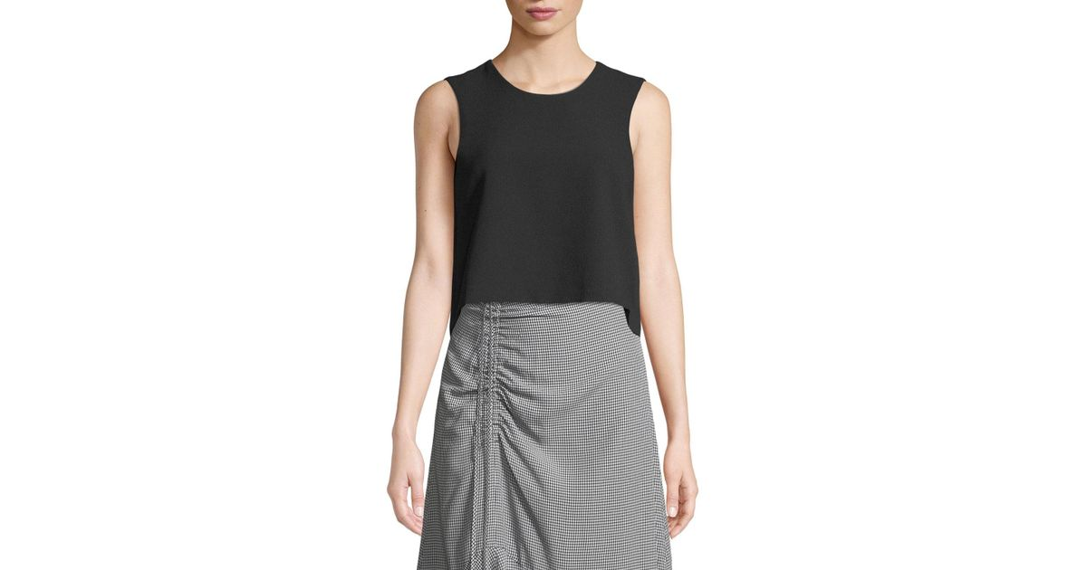 fa6e46d2067 Club Monaco - Black Midian Structured Sleeveless Crop Top - Lyst
